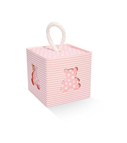 10pz scatoline portaconfetti orsetto scatole rosa pois bomboniera 5x5x5 cm