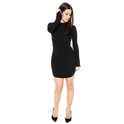 Qiusa 2017 Fashion Herbst Winter Kleid Beiläufige Reizvolle Frauen Volle Bodycon Long Sleeve Cocktail Party Minikleider Gemacht Durch Mehr Größe Zu Wählen (Farbe : Schwarz, Größe : ()