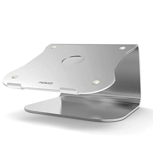 MoKo 12-17 Zoll Laptop Kühler Ständer - Universal Aluminium Notebook Cooler Desktop Halterung Kühlpad Kühlmatte für Apple MacBook, MacBook Pro, Surface Book, Laptop, Notebook, Silber