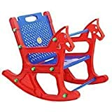 Mother Glory Plastic Folding Rocking Chair with Safety Bar and Arm Rest for Babies (Multicolor)