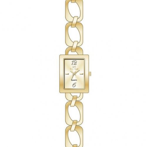 Clyda CLD0414PTBX Women's Analog Quartz Watch, Yellow Steel Bracelet with Synthetic Stones
