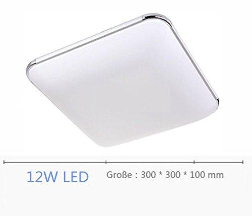 SAILUN 12W Warmweiß Ultraslim LED Deckenleuchte Modern Deckenlampe Flur  Wohnzimmer Lampe Schlafzimmer Küche Energie Sparen Licht Wandleuchte Farbe  Silber