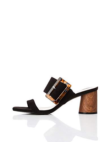 Find. Large Buckle Block Heel Sandal Sandalias con Punta Abierta, Negro Black, 41 EU