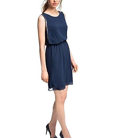 ESPRIT Collection Damen Kleid zarte Chiffon Qualität, Knielang, Gr. 44, Blau (NAVY 400)