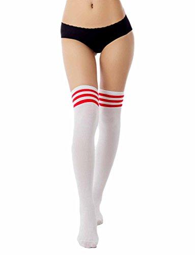 iB-iP Damen Navy Stripes Sport Stil Cute Hold-Up Schenkel Hoch Knee-High Socken, Rot (High Stripe Knee Socken)