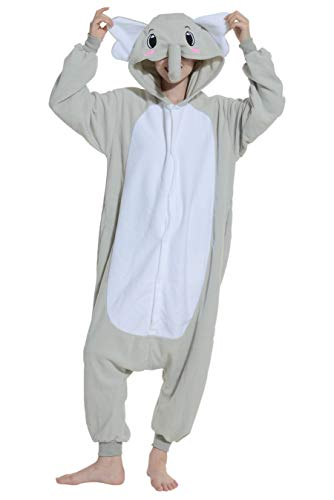 Unisex Kigurumi Jumpsuit Tier Pyjamas Kostüm Fasching Onesie Damen Herren Karneval Cosplay Nachtwäsche, Grau Elefant
