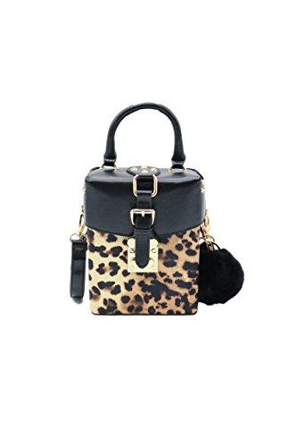 Zen - Damen Mini-Handtasche mit Pelz Leopardenmuster