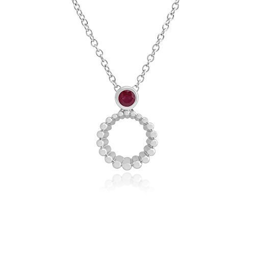 Gemondo Collar Rubí, 925Plata de Ley 0.14ct Ruby colgante de 45cm cadena
