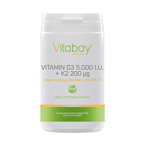 Vitamin D3 5.000 I.E. + Vitamin K2 Menaquinon MK7 200 µg - 99,99% trans-form - Cis-Anteil 0% - veganes Pulver ohne Kapseln (200 g / 700 Portionen)