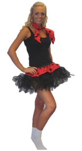 Rock & Roll, Tutu mit Hals Krawatte Black Polka Dot Fancy Kleid (Circle Rock Womens)