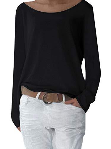 Yidarton Damen Langarm T-Shirt Rundhals Ausschnitt Lose Bluse Hemd Pullover Oversize Sweatshirt Oberteil Tops (S, Y-Schwarz)