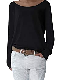 Yidarton Womens Knitted Long Sleeve Tops T Shirts Solid Loose Jumper Baggy Blouse