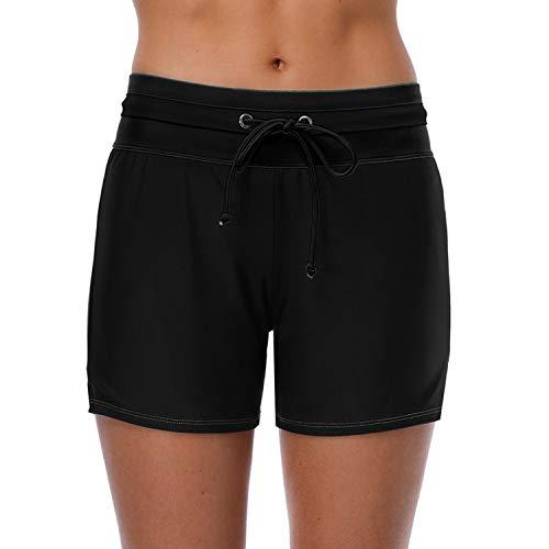 Vegatos Sportlich Badeshorts für Frauen Mittle-lang Schwimmshort mit Tasche Lose UV-Schutz Badehose Colorblocking Seile Schwarz XL