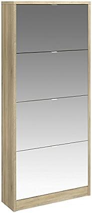 Tvilum Particle Board Bright Shoe Cabinet, 71014, Oak, H 164.3 x W 71.8 x D 24 cm, DIY