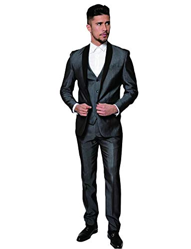 UMISS Herren Slim Fit 3 Stück Schal Revers Anzugjacke Tux Weste & Hose -