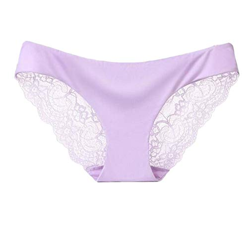 UUGYE Women Underwear Ice Silk Seamless Sexy Lace Brief Panty 6 US S - Hi-rise Panty