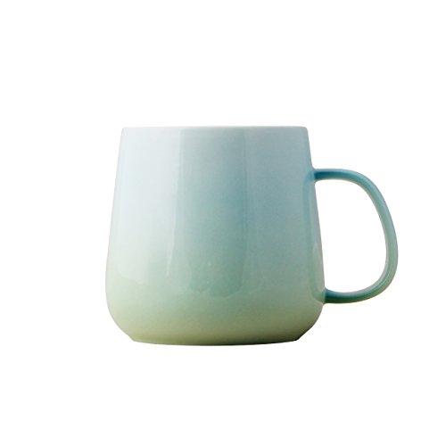 UPSTYLE Farbverlauf Farbe Kaffee Becher Light Farbe Kinder Keramik Cup Sport Reise Kaffee Tasse für Tee, Wasser, Milch und Kaffee, 12.5oz, A070 grün