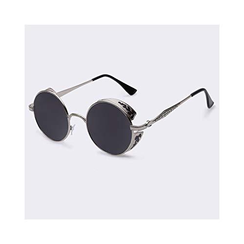 Sport-Sonnenbrillen, Vintage Sonnenbrillen, Steampunk Vintage Sunglass Fashion Round Sunglasses Women Brand Designer Metal Carving Sun Glasses Men Oculos De Sol S1635 C02gray