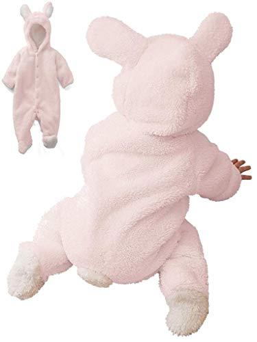 Piccoli monelli pigiama pigiamone tutina coniglietta rosa bambina neonata in pile adatto anche come costume o tutone caldo di carnevale tg 90 cm rosa con piedini