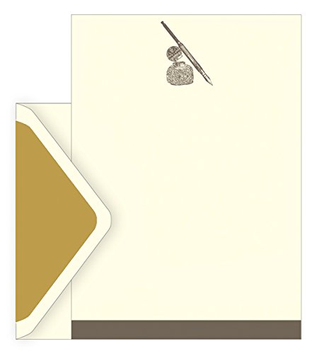 The art file boxed notecards - penna e inchiostro design - set di 10 fogli di carta intestata ,10 mantenimento e 10 buste