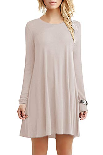 YMING Damen Looses Kleid Langarm Tunika Kleid Langes Shirt Kleid,Kaki,XS - Kleid Hip Hop