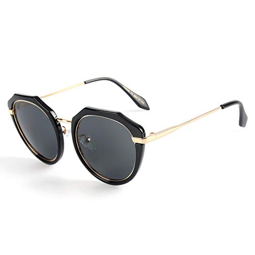 Yiph-Sunglass Sonnenbrillen Mode Übergroße Katzenaugen-Art-Frauen polarisierte Sonnenbrille (Farbe : Black Frame/Gray Lens)