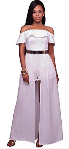 Blansdi Damen Elegant Cocktailkleid Volants Schulterfrei Netz-Garn Partykleid Brautkleid Abendkleid A-linie Clubwear Festlich Shorts Jumpsuit Weiß