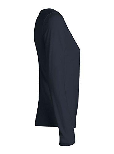 YTWOO Damen Langarmshirt aus 100% Bio-Baumwolle, Damen Bio Longsleeve, Damen Bio Langarmshirt, Damen Bio Langarm T-Shirt, organic cotton Navy