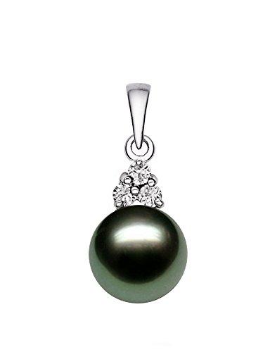 14K Or Blanc Noir Perle de culture de Tahiti de qualité AAA Pearl pendentif avec diamants