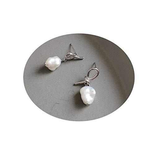 LEEPLING Stud di Nodo in Argento Sterling 925 - Orecchini Pendenti Perle coltivate d'Acqua Dolce Bianche per Le Orecchie sensibili delle Ragazze