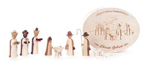 DREGENO Spandose mit Miniatur Krippe-Figuren, 9-teilig, von DREGENO SEIFFEN - Original erzgebirgische Handarbeit, stimmungsvolle Weihnachts-Dekoration -