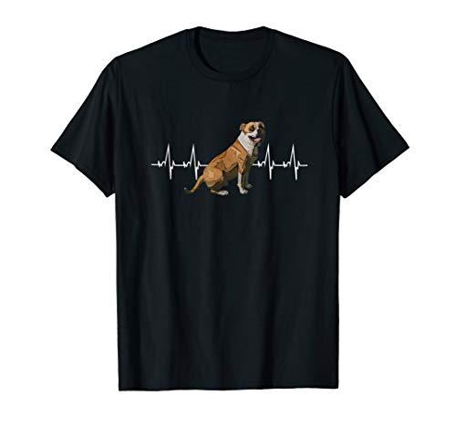 American Bulldog Heartbeat Herzschlag Puls Hunde T-Shirt -
