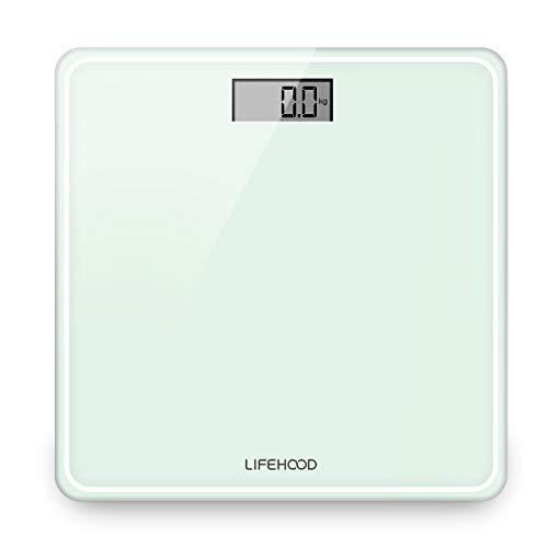 Lifehood  Báscula de Baño - Balanza Digital Baño de Alta Medición Precisa 180KG, Báscula Electrónica con Gran Plataforma y LCD Retroiluminación, Cristal Blanco