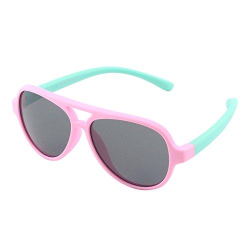 CGID Rubber Flexible Kids Aviator Polarized Sunglasses Glasses for Baby and Children Age 3-5,K93