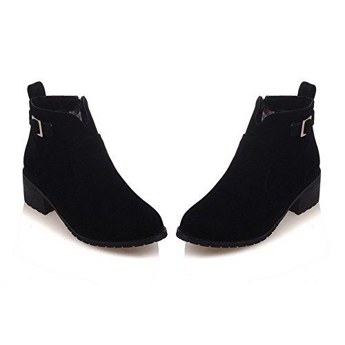VogueZone009 Donna Tacco Medio Alla Caviglia Puro Cerniera Stivali con Fibbia Nero