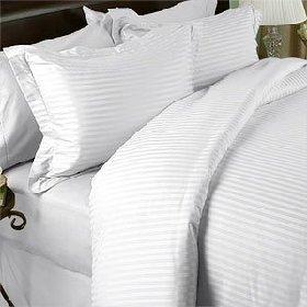 Ägyptische Bettwäsche 1000 Fadendichte - 1000Tc Bettlaken-Set, ägyptische Baumwolle, für Doppelbetten, gestreift, 1000 Damast Tc/Weiß -