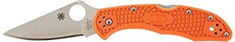 Spyderco Delica 4 Lightweight Plain Edge Folding Knife - Orange