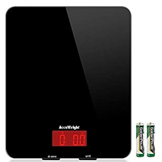 ACCUWEIGHT Digital Kitchen Cooking Scale, 11lb/5kg, Electronic Tempered Glass Kitchen Scale, Weighing Food Scales with Larger Platform and Backlit LCD, Slim Design, Black, Batteries Included