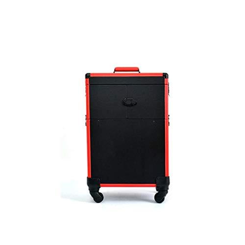 YD Kosmetische Fälle Trolley Kosmetikkoffer professionelle Maskenbildner Schönheit große Kapazität tragbare Toolbox 37 × 24 × 50 cm 2 Farbe /& (Farbe : Black red)