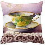 Generic Pillow Cover 0001 Teacup On Lace Trow Pillowcase 18 x 18