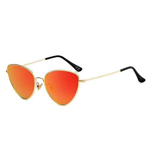 AMZTM Katzenauge Sonnenbrillen - Vintage Retro Brillen für Mädchen Damen UV400 Schutz HD Vision Sonnenbrille Damenmode Sonnenbrillen (Goldener Rahmen, orangerote Linse)