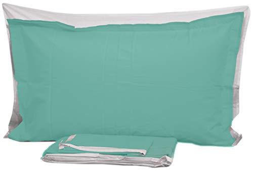 Completo lenzuola flù 100% cotone letto matrimoniale maxi due 2 piazze piano + sotto + 2 federe a 3 volani (verde acqua)