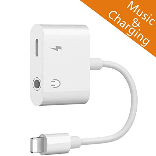 Tenwow Kopfhörer-Jack-Adapter-Zusätzen 3.5mm für iPhone X /8/8 Plus. Verbindungsstück zu 3.5 Millimeter. Kopfhörer Adapter & Lade Adapter, Blitzkabel [Audio + Lade + Musik]. Unterstützen iOS 12. thumbnail