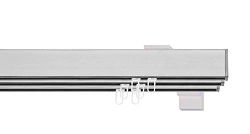 indeko BERN, eckige Gardinenschiene mit Innenlauf aus Aluminium auf Maß, 3-Lauf, edelstahloptik, Komplettset mit Zubehör