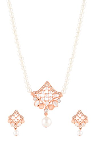 Estelle Rose Gold Peach Color Stone Filigree Work Cultured White Pearl n AD-Drop Pendant & Ear rings Necklace Jewellery Haar Set in Long Moti Mala|Simple Wedding Fancy Party/Daily Wear Stylish Traditional Indian Design Pendal|Gift for Her,Women,Girls  available at amazon for Rs.1399