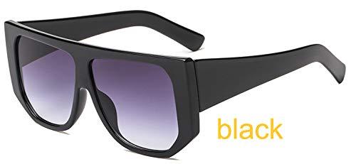 LKVNHP Sterne Leuchten Kunststoffrahmen Festival Celebrity Shield Übergroße Sonnenbrille Damenmode Frauen Brille Uv ProtectorWTYJ038 schwarz c1