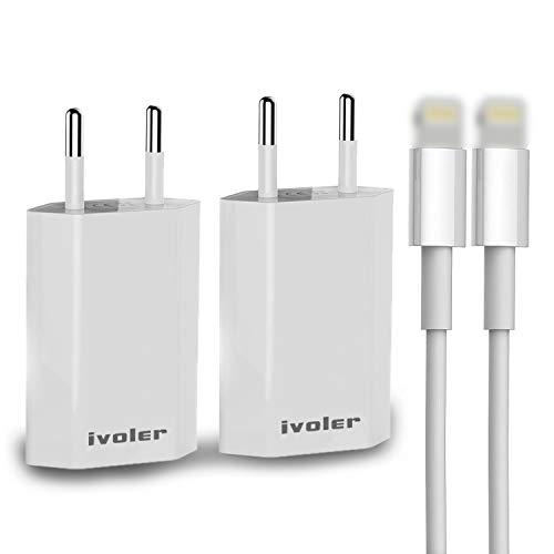 iVoler [Lot de 2 Extra Mini Chargeur USB Secteur 5W/1A Incluant Un Câble(1m), Universel Secteur Mural Universel Secteur Chargeur Mural pour Android Smartphone, Tablette, Externes,etc. - Blanc