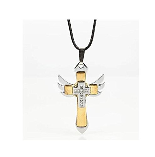 GYJUN Collana cross in lega di zinco strass crocifisso maschile (1 pezzo) , golden