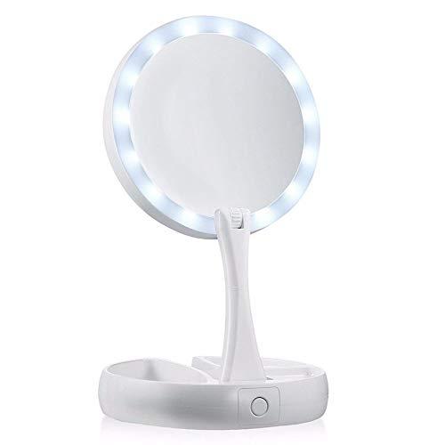 JJHR Miroirs cosmétiques à poser Portable Forme Ronde Pliable LED Maquillage Miroir Femmes du Visage Maquillage Miroir De Bureau Miroirs Cosmétiques Outils De Maquillage