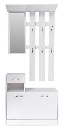 ts-ideen Wand-Garderobe Spiegel Schuhkipper Schuhschrank mit Schublade Holz weiß